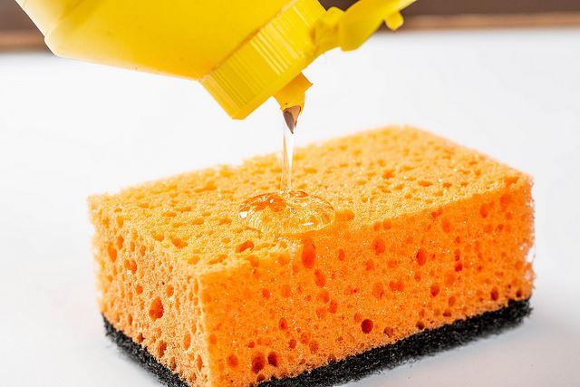 Detersivo per piatti fatto in casa versato sulla spugna