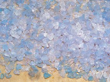 Gel di silice saturo con indicatore di umidità virante al blu