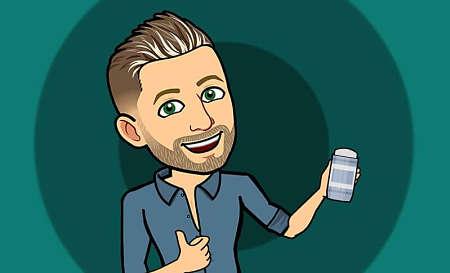Vignetta di uomo con in mano un deodorante