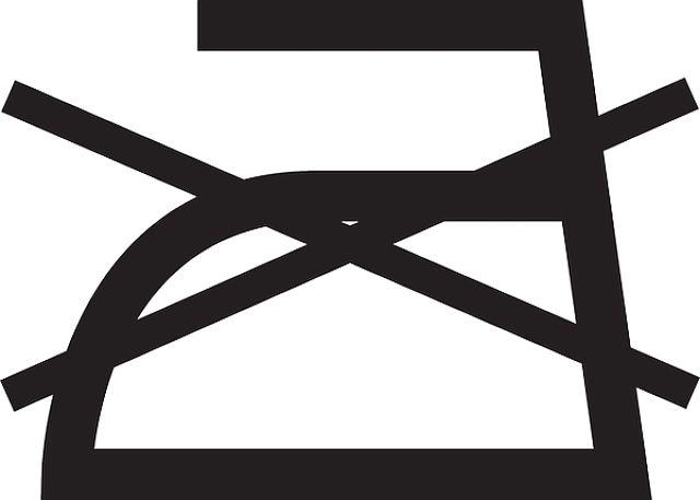 Simbolo del non stirare riportato sulle etichette dei tessuti