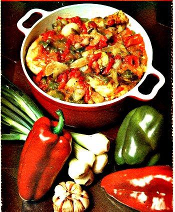 Pollo alla basca con peperoni