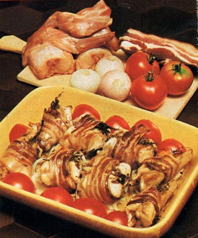 Involtini di coniglio con pancetta con gli ingredienti necessari alla sua preparazione
