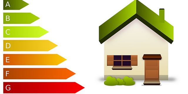 Immagine vettoriale di casetta con classi di efficienza enerrgetica