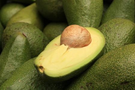 Mezzo avocado con nocciolo su frutti interi