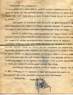 Ricetta autografa di Pepèn dello stracotto di Parma
