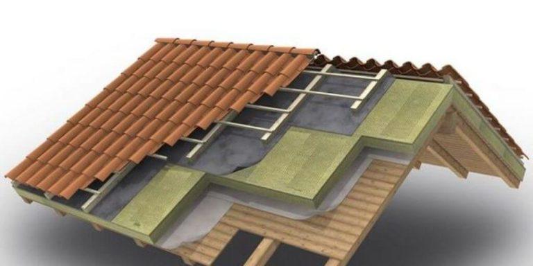 Schema in sezione di un tetto ventilato