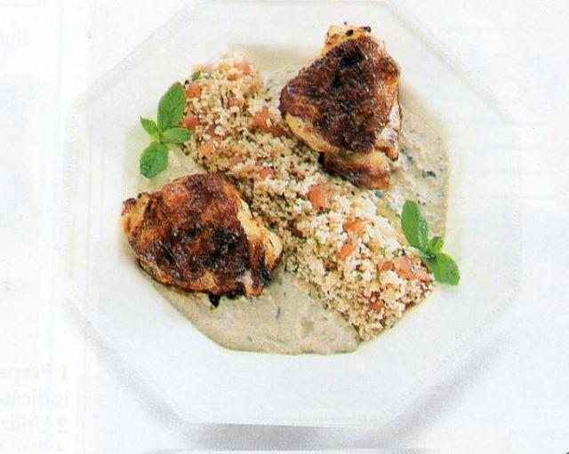Cosce di pollo grigliate con Taboulé e salsa al coriandolo