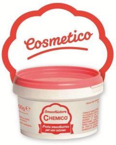 Tipica confezione bianca e rosa del Chemico, prodotto apposito per smacchiare la pelle sporcata dalla tinta per capelli