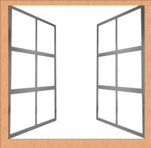 Sistema completo di finestra con infisso e serramenti