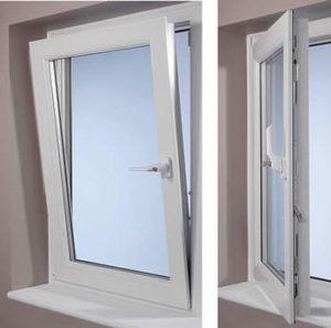 Finestra in PVC con fermo di apertura a ribalta