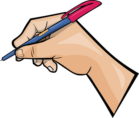 Disegno di mano che prende appunti con la penna