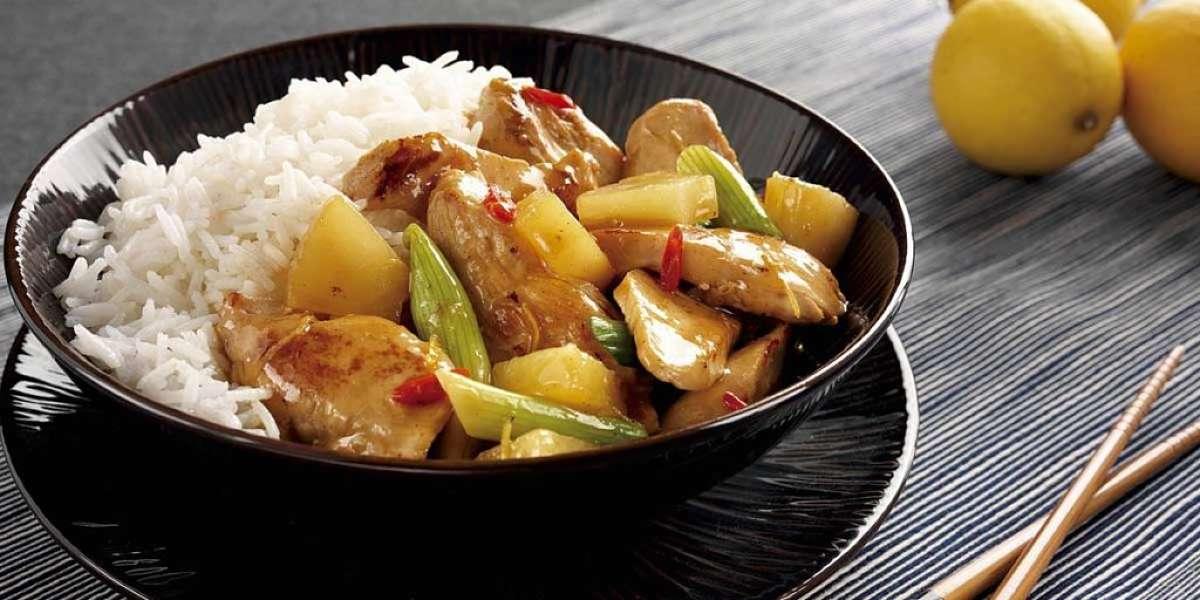 Pollo in agrodolce con riso