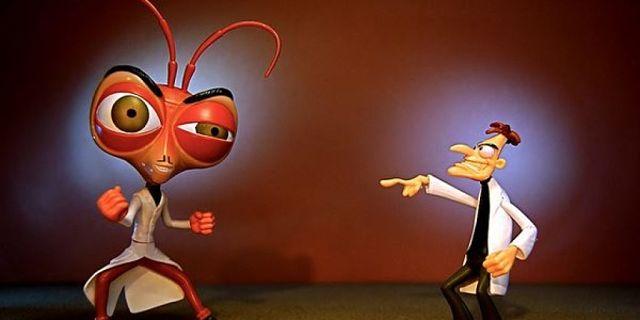 Vignetta di dottore contro grosso scarafaggio