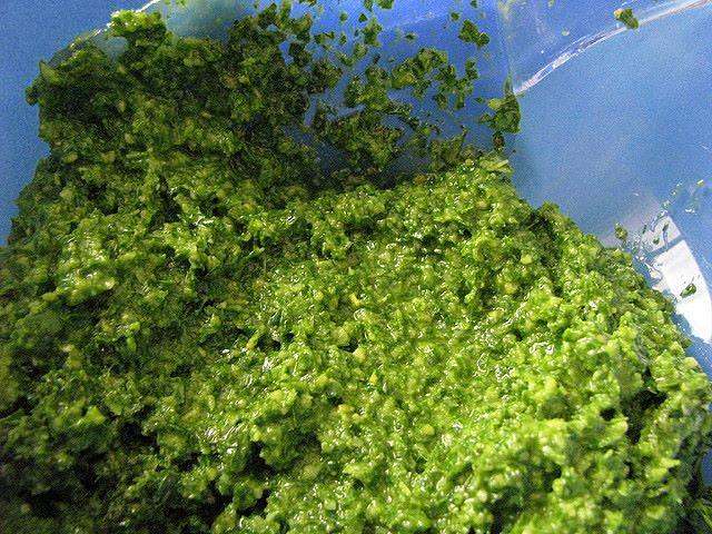 Pesto genovese del giusto tono di verde e dalla granularità ideale