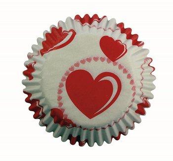 Dorso di pirottino di carta per dolci con cuori rossi su sfondo bianco