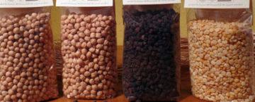 4 tipi diversi di ceci confezionati in sacchetti trasparenti