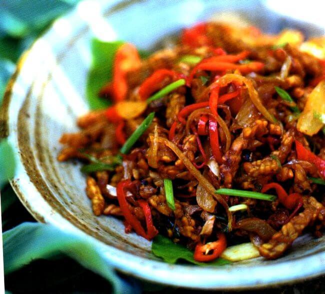 Come di presenta il tempeh caramellato fatto seguendo la ricetta dell'Indonesia