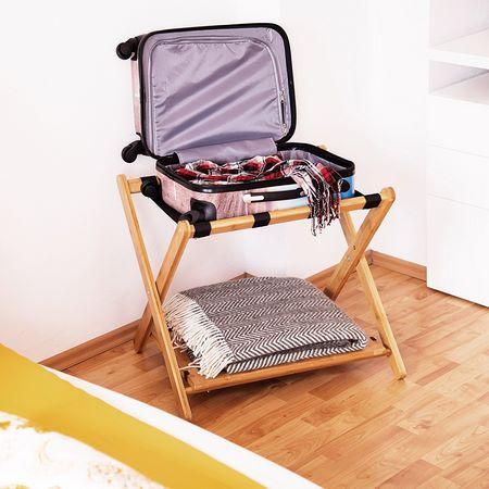 Poggia valigia pieghevole in legno a 2 ripiani