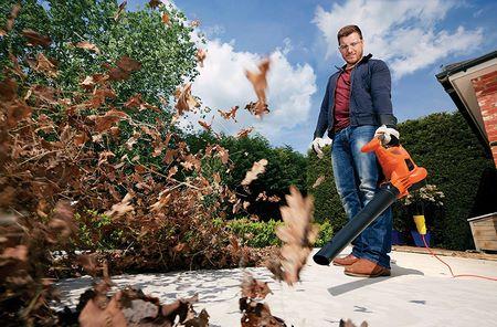 L'uso del soffiatore di foglie elettrico facilita la rimozione delle foglie morte dal giardino in autunno