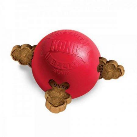 La palla Kong si può riempire con i biscottini per cani