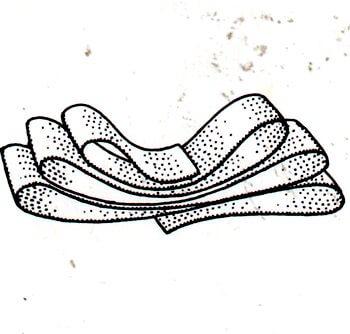 Immagine illustrativa della prima fase della preparazione del fiocco da sarto