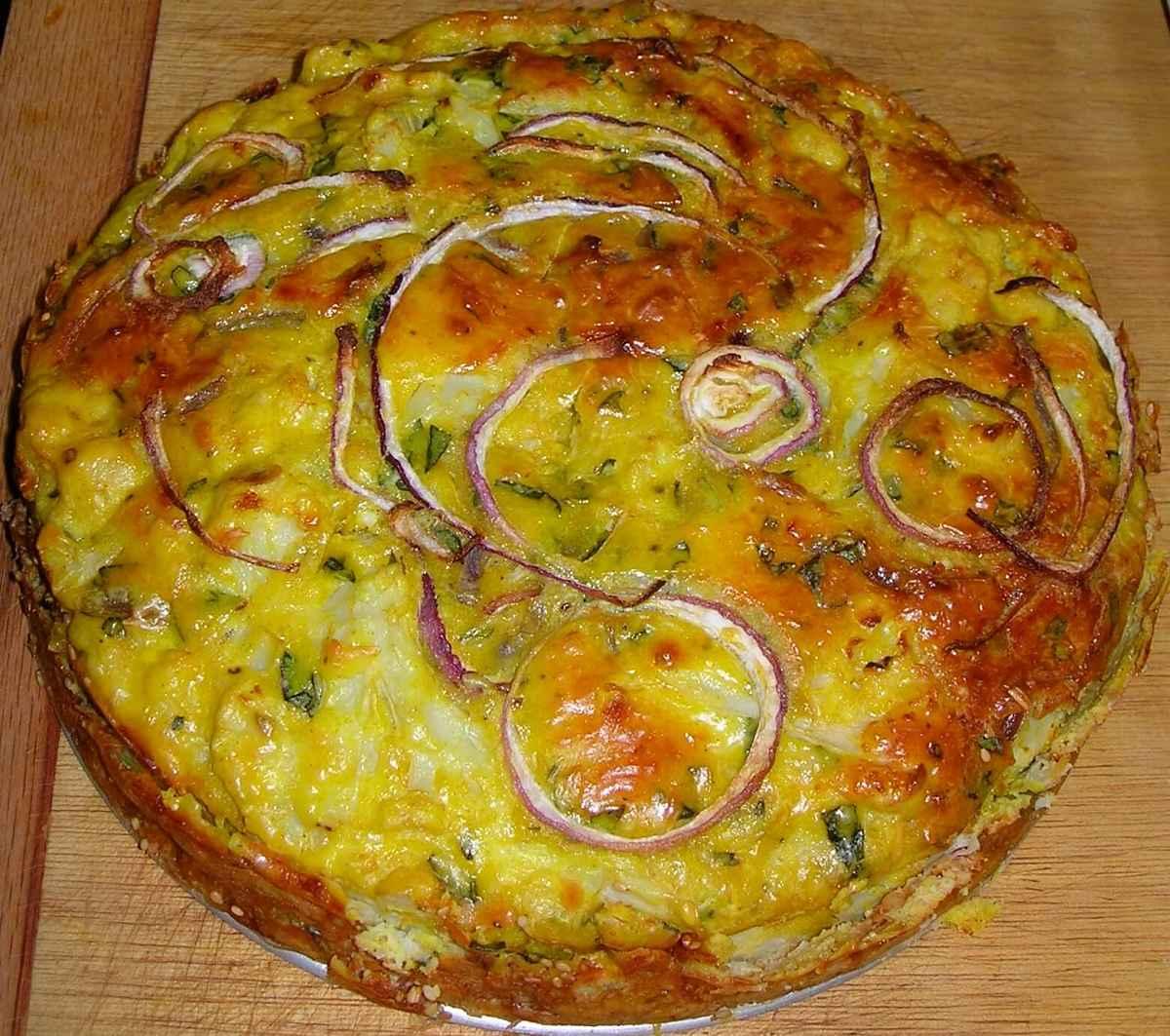 Aspetto della torta di cavolfiore e parmigiano cotta al forno