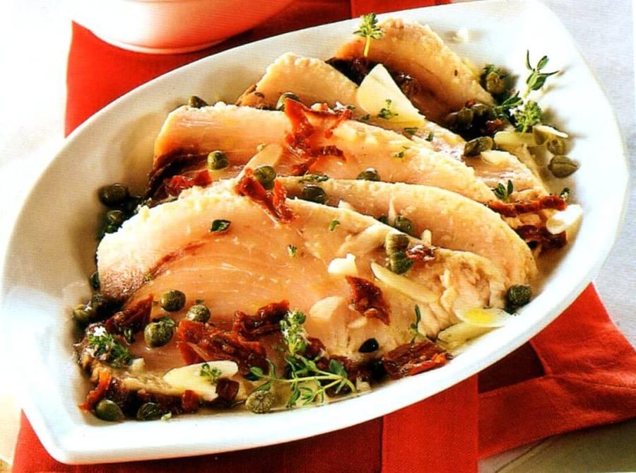 Aspetto della tagliata di pesce spada ai sapori dell'orto dietetica
