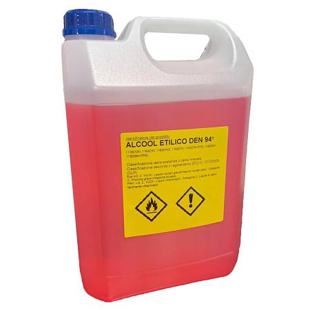 Targhetta con precauzioni d'uso su tanica si alcol denaturato