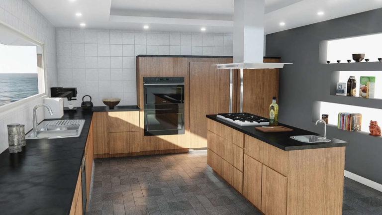 Top di cucina in ardesia nera sottopost coorrettamentei a lavaggio giornaliero e ai trattamenti perodici