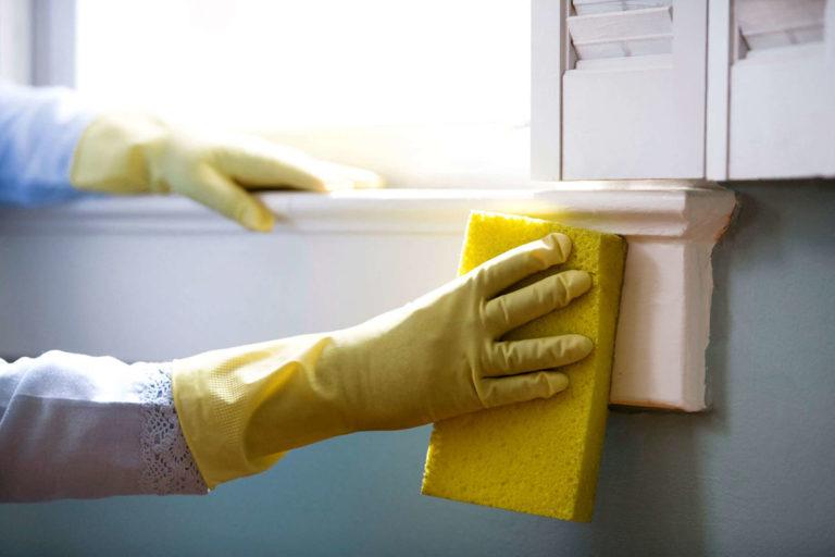 Donna etfettua la pulizia di infissi in legno con spugna e acqua saponata