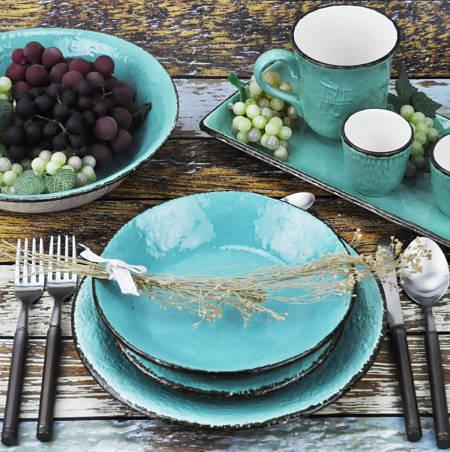 Servizio di piatti Preta di colore turchese brillante